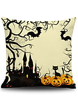 Halloween Pumpkin Castle Square Linen Decorative Throw Pillow Case Cushion Cover