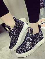 Women's Sneakers Fall Comfort Leatherette Casual Flat Heel Sequin Black / Silver Others