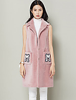 Xuebao Women's Casual/Daily Simple Fur CoatSolid Cowl Sleeveless Fall / Winter Pink Wool Thick