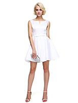 TS Couture® Cocktail Party Dress A-line Notched Short / Mini Satin with Sash / Ribbon / Bow(s) / Pleats