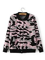 Normal Pullover Femme Décontracté / Quotidien Mignon,camouflage Rose / Rouge / Blanc / Noir Mao Manches Longues Cachemire / Polyester