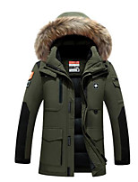 Men's Down Coat,Simple Casual/Daily Solid-Polyester White Duck Down Long Sleeve Hooded Green