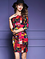 Women's Plus Size / Going out Sophisticated Bodycon DressGeometric Round Neck Above Knee  Sleeve Red / Green
