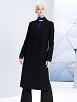 DL.FANG Women's Going out / Casual/Daily Simple CoatSolid Notch Lapel Long Sleeve Winter Black Wool / Polyester Thick