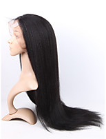 Human Virgin Human Hair 1# Dark Black Color Full Lace & Lace Front Kinky Straight Wig With Baby Hair