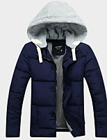 Men's Regular Down Coat,Simple Casual/Daily Solid-Polyester White Duck Down Long Sleeve Hooded Blue / Red / Black