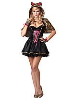 Cosplay Costumes Animal Cheetah Halloween Black Print Cotton Dress / Cloak