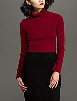 Tee-shirt Femme,Couleur Pleine Décontracté / Quotidien simple Automne / Hiver Manches Longues Col Roulé Rouge Polyester Moyen
