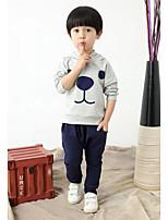 Boy's Casual/Daily Print Hoodie & Sweatshirt / Pants / Clothing SetCotton Spring / Fall Gray