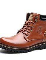 Черный / Коричневый-Мужской-На каждый день-Кожа-На низком каблуке-Удобная обувь-Ботинки