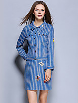 Women's Going out Street chic Skirt Suits,Striped Shirt Collar Long Sleeve Blue Cotton