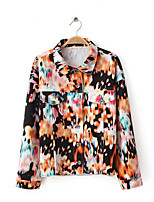 Women's Casual/Daily Simple Fall JacketsFloral Crew Neck Long Sleeve White Cotton Medium
