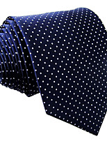 Men's Necktie Tie For Men Navy Blue Dots 100% Silk Jacquard Woven Business Dress Casual Wedding