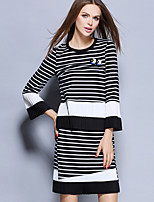 Women's Casual/Daily Simple Fall Set Skirt Suits,Striped Round Neck Long Sleeve Gray Cotton / Spandex Medium