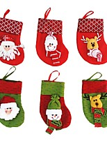 6 Pcs/lot Christmas Tree Decorations 6 Pcs/lot Santa Claus&Snowman&Deer Christmas Stockings Christmas Decorations