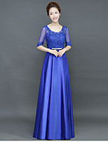 A-line Mother of the Bride Dress Floor-length Half Sleeve Satin with Sash / Ribbon