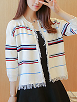 Women's Casual/Daily Simple Regular Cardigan,Striped Blue / Red / White / Black / Gray Round Neck ¾ Sleeve Polyester Fall / Winter Medium