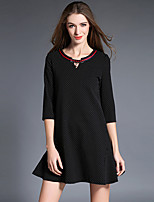 Women's Plus Size / Going out Vintage A Line DressPolka Dot V Neck Above Knee  Length Sleeve Black Polyester