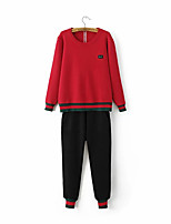 Women's Sports Active Fall Skirt Suits,Embroidered Round Neck Long Sleeve Red / Black Polyester