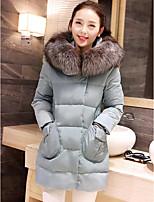 רגיל מעיל פוך מעיל נשים,אחיד פשוטה יום יומי\קז'ואל פוליאסטר נוצות ברווז לבנות-שרוול ארוך כחול / ורוד / סגול