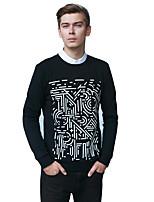 Men's Print Casual SweatshirtCotton Long Sleeve Black