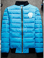 Men's Padded Coat,Simple Casual/Daily Solid-Others Polyester Long Sleeve Round Neck Blue / White