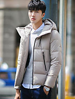 Men's Regular Down Coat,Simple Casual/Daily Solid-Polyester White Duck Down Long Sleeve Hooded Blue / Red / Black / Gray
