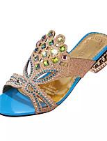 Damen-Sandalen-Kleid-PU-Blockabsatz Kristallabsatz-Komfort-Schwarz Blau Grün