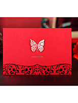 Personalized Top Fold Wedding Invitations Invitation Cards-1 Piece/Set Bride & Groom Style Embossed Paper Ribbons