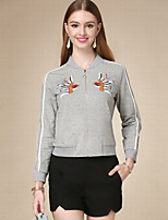 Women's Casual/Daily Active Jackets,Embroidered Crew Neck Long Sleeve Fall Gray Cotton