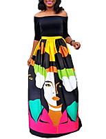 Damen Hülle Kleid-Lässig/Alltäglich Retro Druck Schulterfrei Maxi Langarm Schwarz Polyester Alle Saisons Mittlere Hüfthöhe Mikro-elastisch