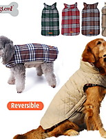 Cat / Dog Coat / Vest Red / Green / Brown / Beige Dog Clothes Winter Plaid/Check Fashion / Reversible / Keep Warm