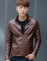 Men's Casual/Daily Simple Jackets,Solid Stand Long Sleeve Fall / Winter Black / Brown Goatskin Medium