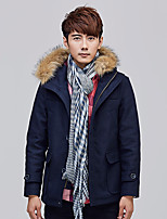 Men's Casual/Daily Simple Coat,Solid Hooded Long Sleeve Winter Blue / Brown Cashmere Thick