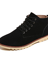 Men's Boots Fall Winter Comfort PU Casual Flat Heel Lace-up Black Brown Gray