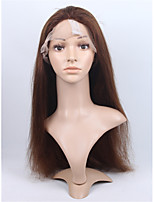 cheveux humains vierge brazilian 4 # moyenne couleur brune pleine dentelle&dentelle perruque droite naturelle avant avec des cheveux