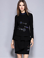 Women's Going out Street chic Skirt Suits,Print Crew Neck Long Sleeve Black Polyester