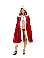 Christmas Costume /Holiday Halloween Costumes Red Solid Coat / Bra / Briefs Christmas Female Pleuche