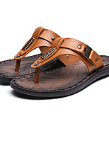 Men's Sandals Summer Slingback Leatherette Casual Flat Heel Others Black / Brown / Yellow Others