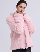 BF-Fur Style  Women's Casual/Daily Simple Fur CoatSolid Long Sleeve Pink Others