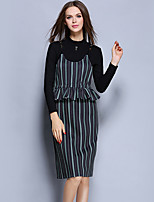 YICHAOFUSHIYICHAOFUSHI Women's Casual/Daily Street chic Sheath DressStriped Crew Neck Knee-length Long Sleeve Black Polyester Fall High -OMT-Y1800-260