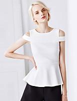 Tee-shirt Femme,Couleur Pleine Décontracté / Quotidien simple Eté Sans Manches Col Ras du Cou Noir Nylon Moyen