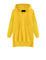 Women's Casual/Daily Simple Regular HoodiesSolid Blue / White / Black / Yellow Hooded Long Sleeve Cotton