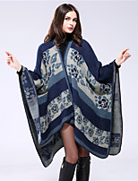 NITE OWL  Women Rayon ScarfCasual RectangleBlack / Blue / Brown / GrayGeometric-16022