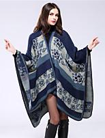 Damen Freizeit Kunstseide Schal,Rechteck Geometrisch Herbst / Winter Schwarz / Blau / Braun / Grau