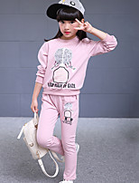 Girl's Casual/Daily Print Clothing SetCotton Fall Blue / Pink