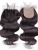 4x4 Silk Base Closure Body Wave Human Hair Closure Medium Brown Swiss Lace about 30g gram Average Cap Size
