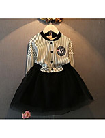Girl's Going out Striped DressCotton Spring / Fall Black