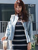 Veste Femme,Couleur Pleine Décontracté / Quotidien simple Manches Longues Bleu Coton Hiver