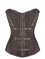Shaperdiva Women Leather Steel Boned Waist Cincher Gothic Steampunk Corset